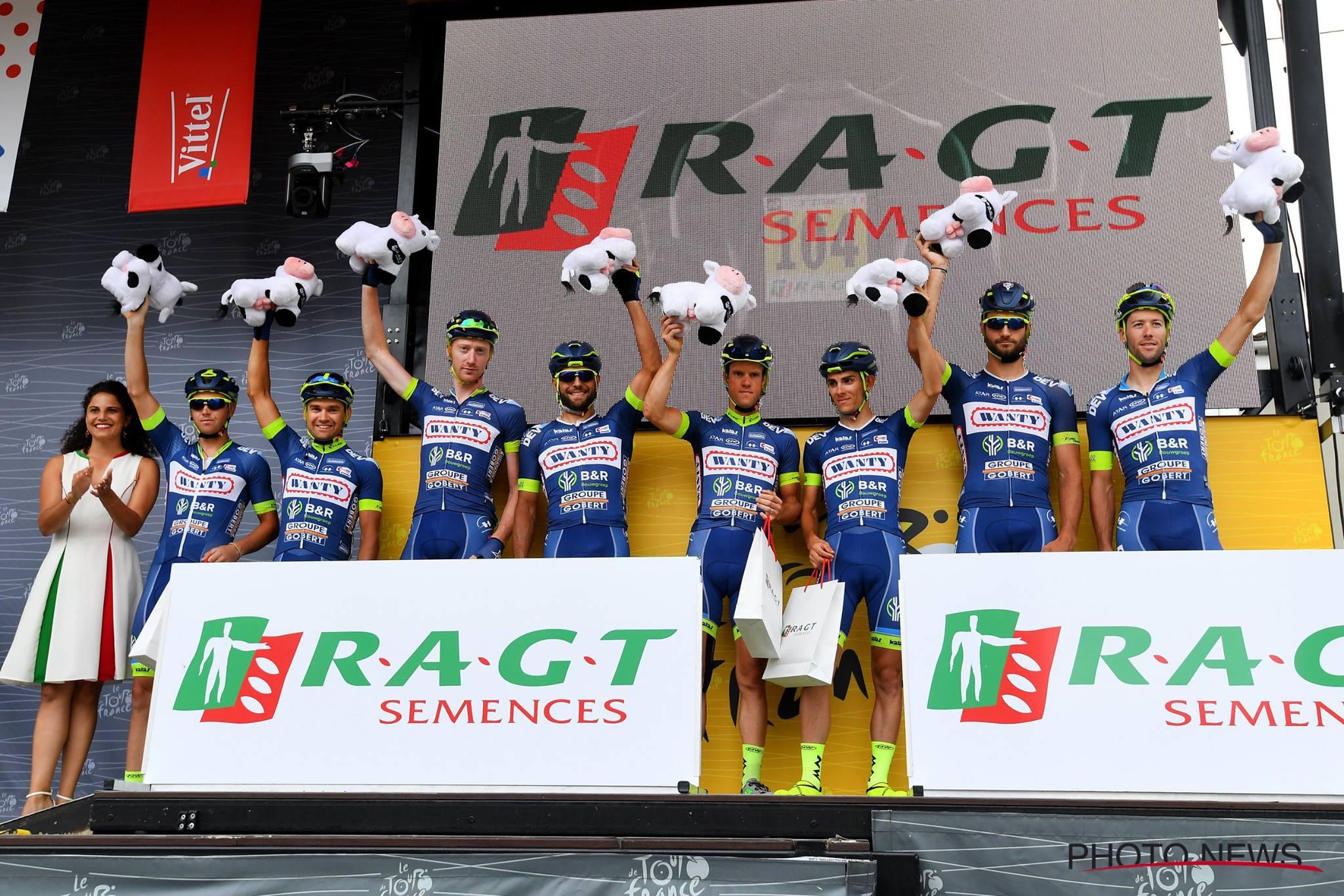 11ème étape : la Wanty-Groupe Gobert monte pour la 3ème fois sur le podium du classement par équipe. © Photo News