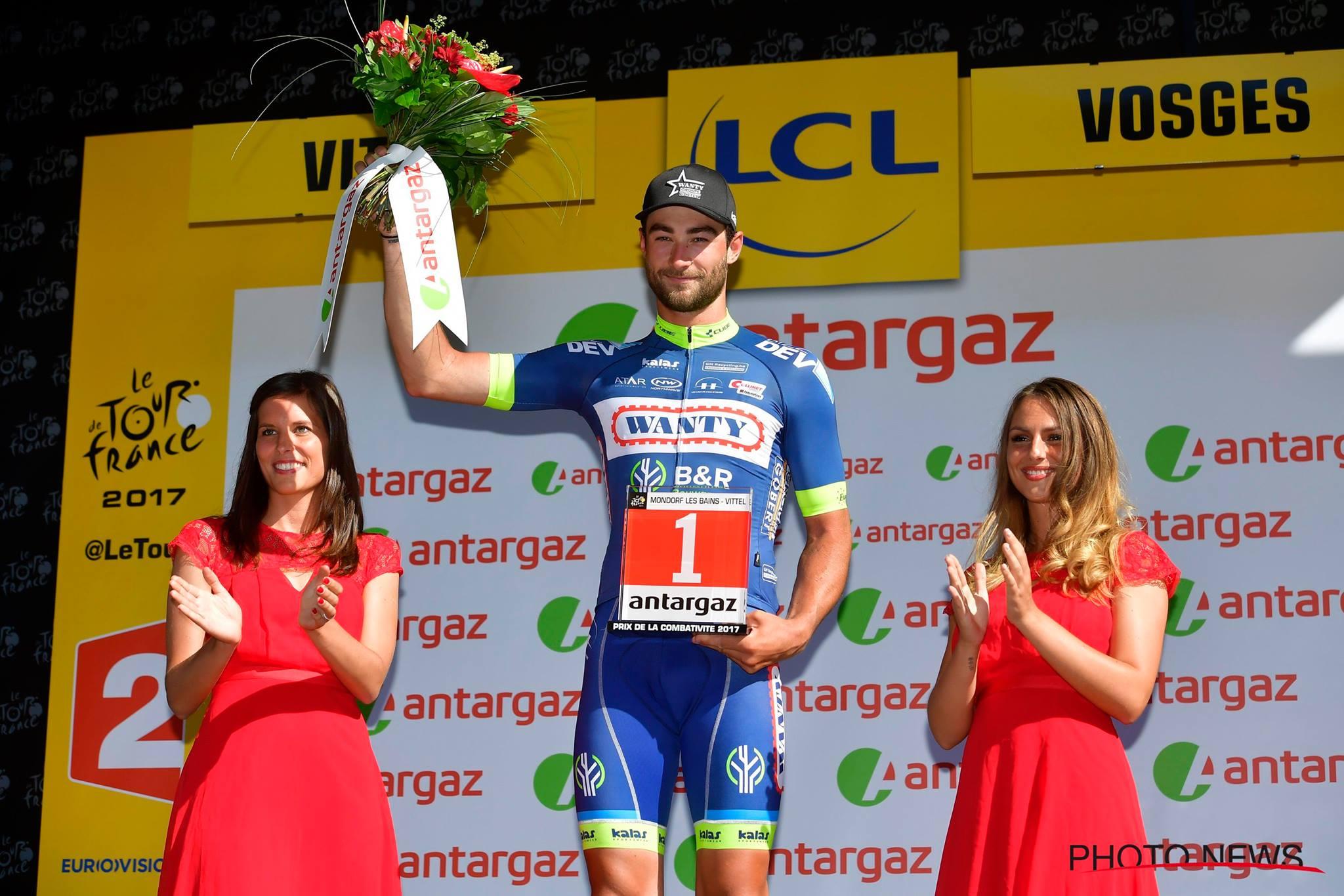 Guillaume Van Keirsbulck élu coureur le plus Combatif de la 4ème étape du Tour de France. © Photo News