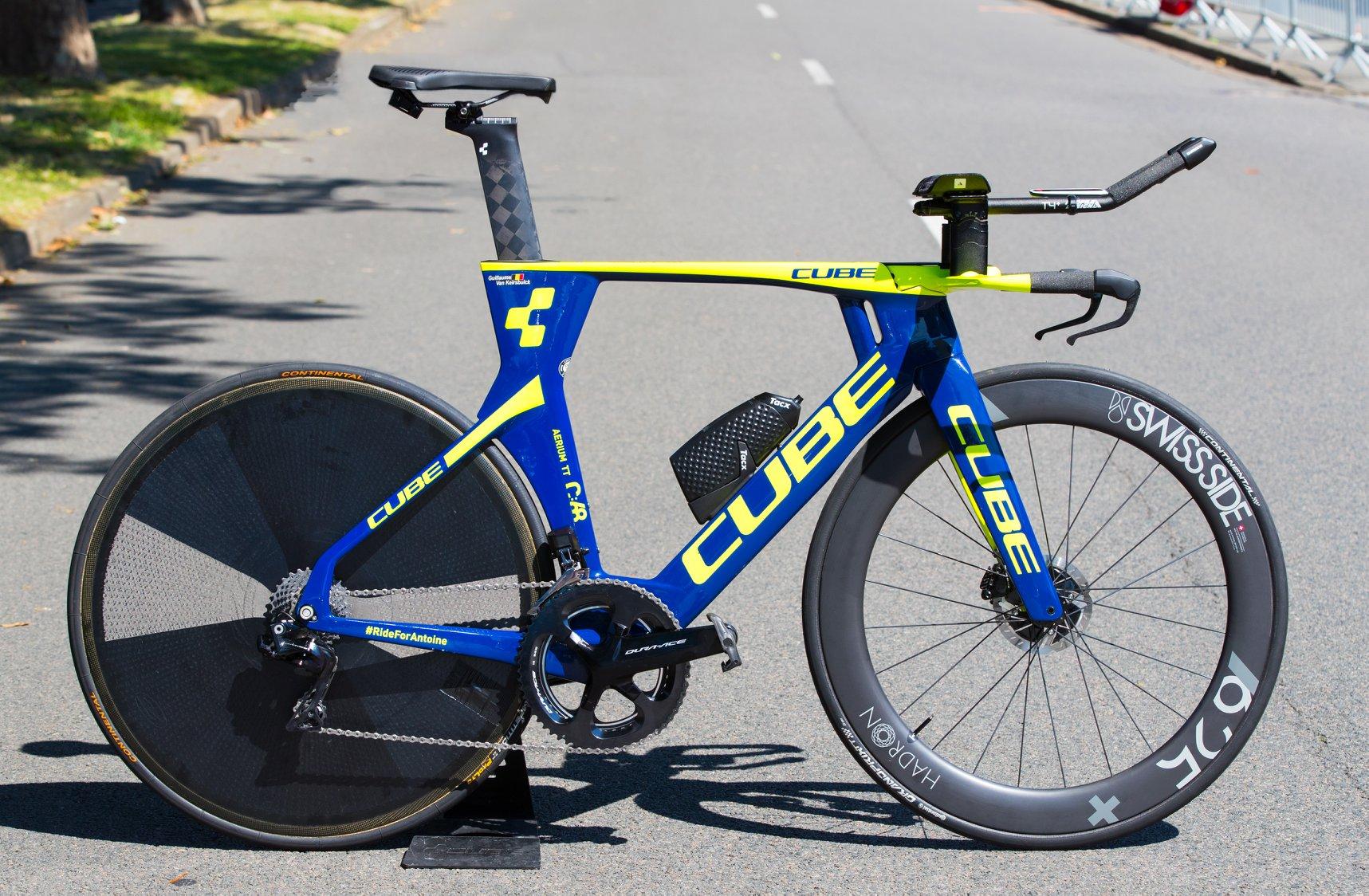 Le Cube Aerium TT C:68 utilisé par les coureurs de la Wanty-Groupe Gobert sur le Tour de France 2018.