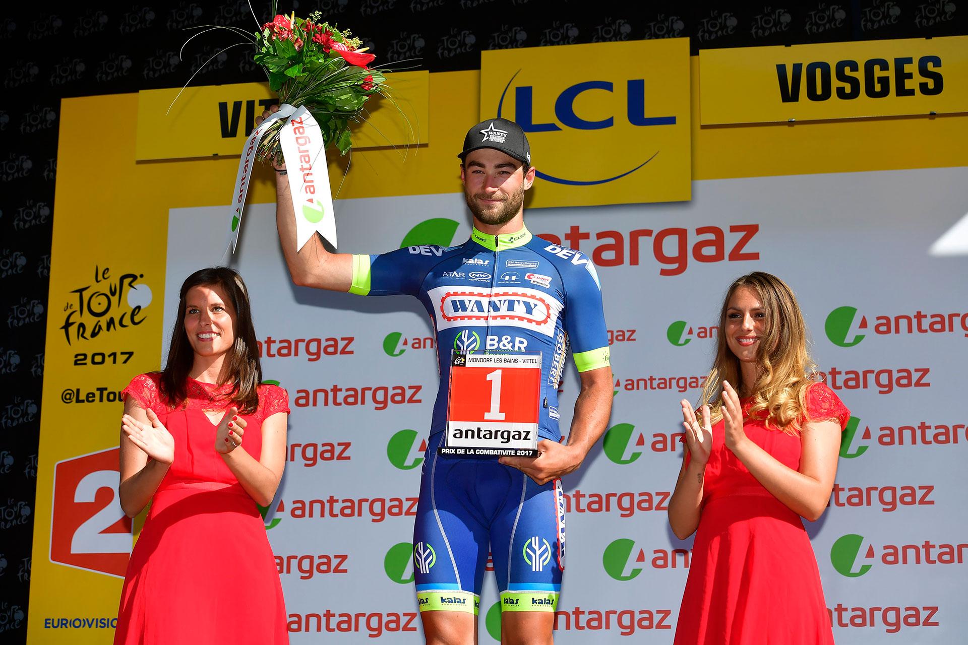 Guillaume Van Keirsbulk remporte le prix de la Combativité au terme de plus de 190 km d'échappée.