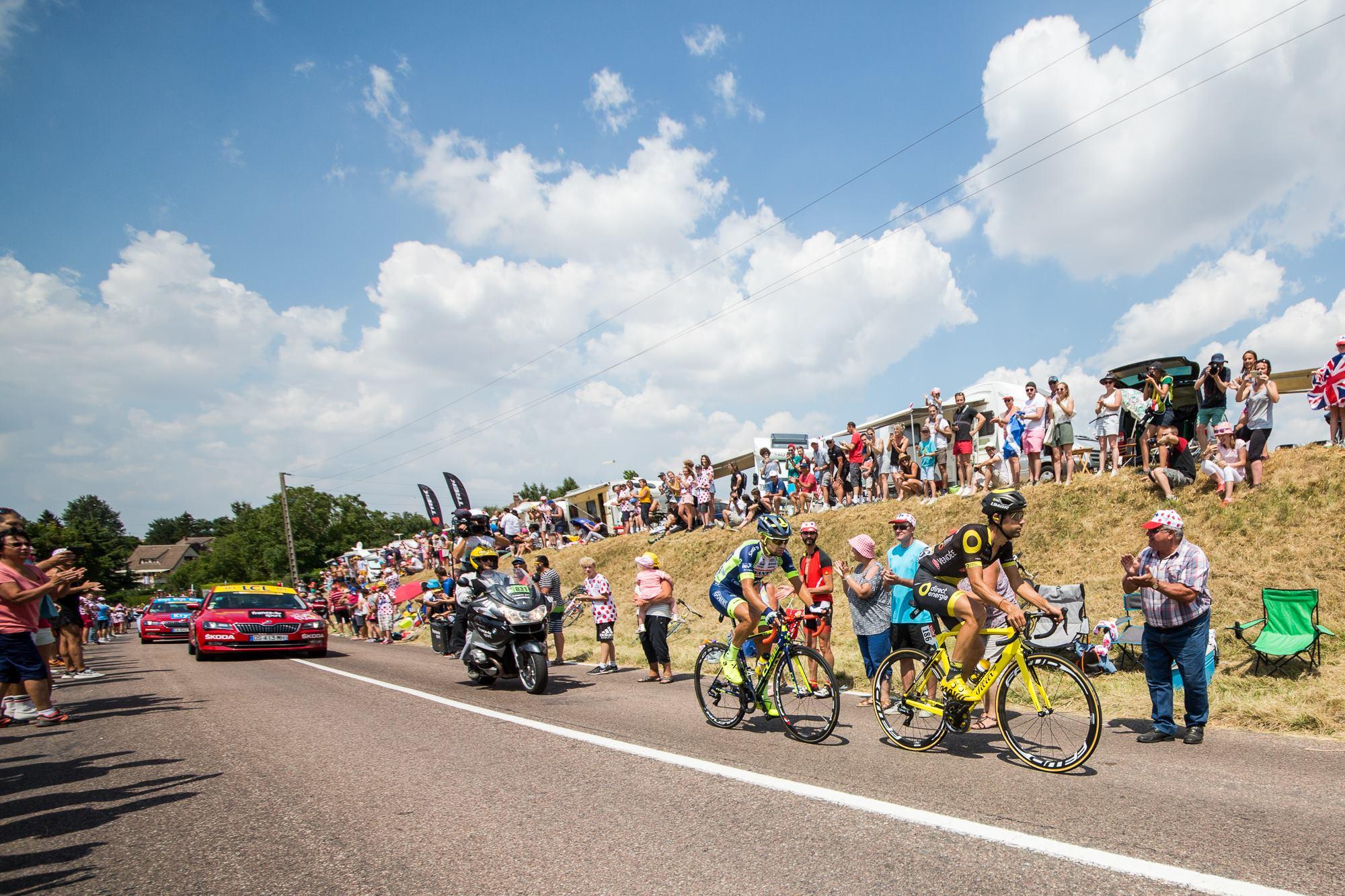 Marco Minnaard et Fabien Grellier en tête de la 8ème étape du Tour de France.