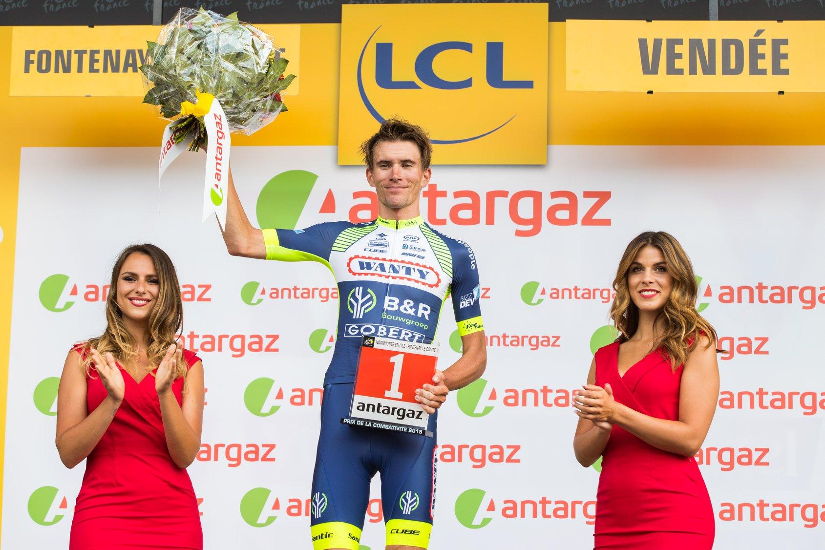 Yoann Offredo, premier combatif à être récompensé sur le Tour de France 2018.